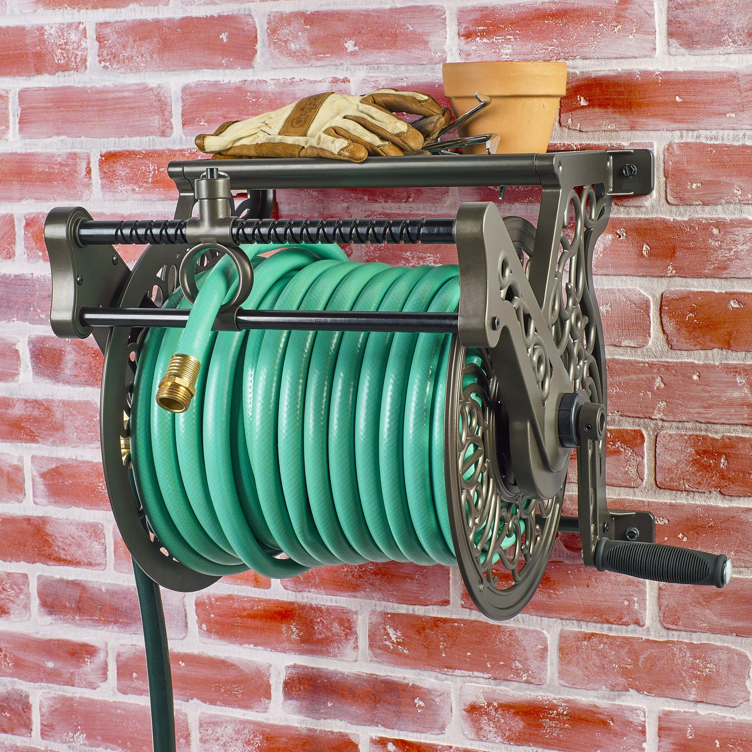 Decorative-Wall-Mount-Garden-Hose-Reel